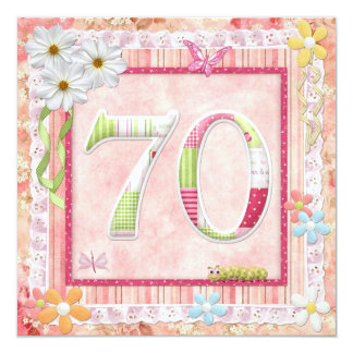 70th birthday party scrapbooking style 5.25x5.25 square paper invitation card