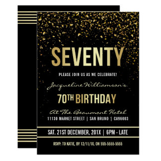 70th Birthday Party | Shimmering Gold Confetti Card