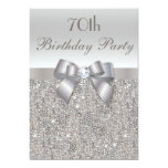 70th Birthday Party Silver Sequins, Bow & Diamond 5x7 Paper Invitation Card