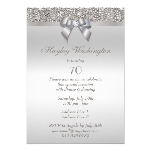 70th Birthday Party Silver Sequins, Bow & Diamond Personalized Invite (back side)