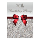 70th Birthday Party Silver Sequins Red Bow Card