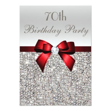 AJ_Graphics 70th Birthday Party Silver Sequins Red Bow Card