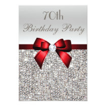70th Birthday Party Silver Sequins Red Bow Invitation