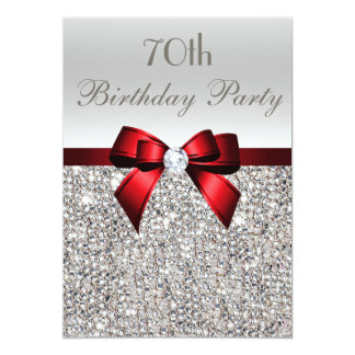 70th Birthday Party Silver Sequins Red Bow 5x7 Paper Invitation Card