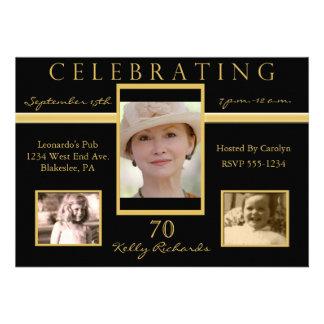 70th Birthday Party Tri Photo Invitations