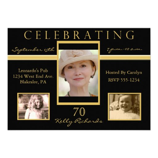 70th birthday party tri photo invitations zazzle