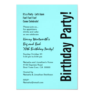 70th Birthday Party Turquoise Black Budget V101H Card
