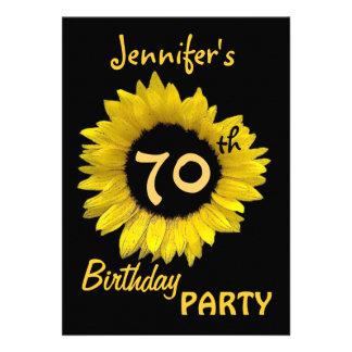 70th Birthday Party Yellow Sunflower Invite