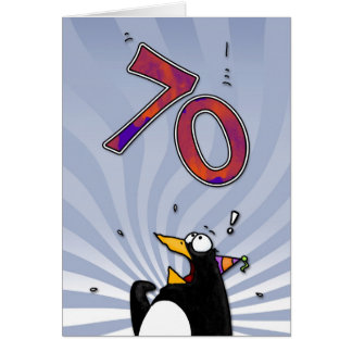 70th Birthday - Penguin Surprise Card