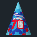 """70th birthday personalized photo star name hat<br><div class=""""desc"""">Bright star pattern add your own photo and name party hat. Ideal for a special boys 70th birthday party celebration. Colorful red and blue star pattern design. Background colour can also be changed for your own choice currently light blue. Original art and design by Sarah Trett. www.sarahtrett.com for www.mylittleeden.com</div>"""