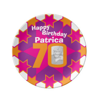 70th birthday photo and name pink star plate