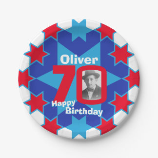 70th birthday photo name blue star paper plate