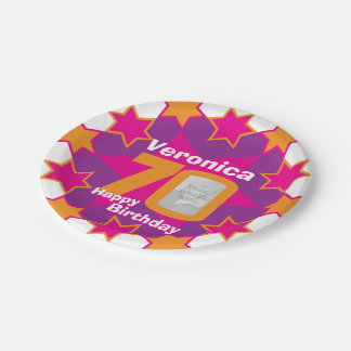 70th birthday photo name pink star paper plate