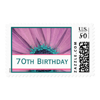 70th Birthday Pink Daisy Party Invitation Stamp