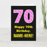 "[ Thumbnail: 70th Birthday: Pink Stripes and Hearts ""70"" + Name Card ]"