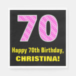 "[ Thumbnail: 70th Birthday: Pink Stripes and Hearts ""70"" + Name Napkins ]"