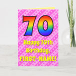 [ Thumbnail: 70th Birthday: Pink Stripes & Hearts, Rainbow # 70 Card ]