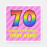 [ Thumbnail: 70th Birthday: Pink Stripes & Hearts, Rainbow # 70 Napkins ]