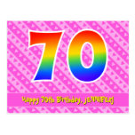 [ Thumbnail: 70th Birthday: Pink Stripes & Hearts, Rainbow 70 Postcard ]