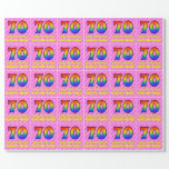 [ Thumbnail: 70th Birthday: Pink Stripes & Hearts, Rainbow # 70 Wrapping Paper ]