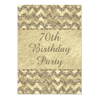 70th Birthday Platinum Glitter Chevrons Card