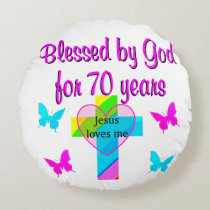 70TH BIRTHDAY PRAYER ROUND PILLOW