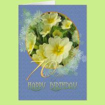 70th Birthday Primroses and blue Card