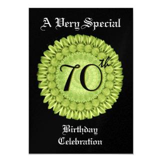 70th Birthday Purple Lime Green Wreath Metallic 5x7 Paper Invitation Card