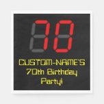 "[ Thumbnail: 70th Birthday: Red Digital Clock Style ""70"" + Name Napkins ]"