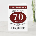 """70th Birthday Red Genuine Legend Add Your Name Card<br><div class=""""desc"""">Fun 70th """"Birth Of A Legend"""" birthday red, grey and white card. Add the year, change """"Legend"""" to suit your needs. Add the name and a unique message in the card. All easily done using the template provided. You can also change the age to make any age you want eg...</div>"""