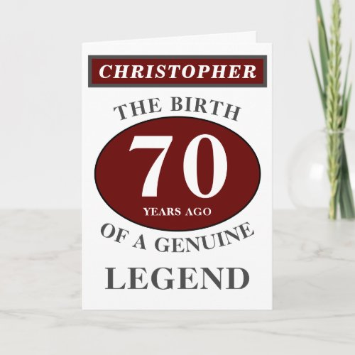 70th Birthday Red Genuine Legend Add Your Name Card