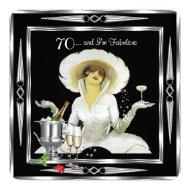 70th Birthday Retro Diva Art Deco Black Silver 2 Invite