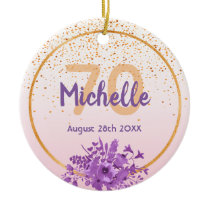 70th birthday rose gold with confetti and flowers ceramic ornament