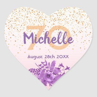 70th birthday rose gold with confetti and flowers heart sticker