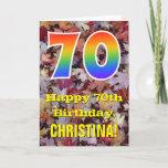 "[ Thumbnail: 70th Birthday; Rustic Autumn Leaves; Rainbow ""70"" Card ]"