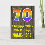 "[ Thumbnail: 70th Birthday: Rustic Faux Wood Look, Rainbow ""70"" Card ]"