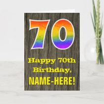 "70th Birthday: Rustic Faux Wood Look, Rainbow ""70"" Card"