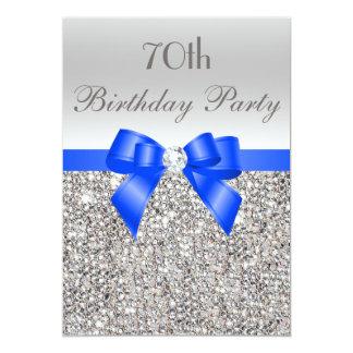 70th Birthday Silver Sequin Royal Blue Bow Diamond Card