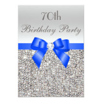 70th Birthday Silver Sequin Royal Blue Bow Diamond Invitation