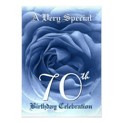 70th Birthday Soft Blue Rose Metallic Paper Personalized Invitation