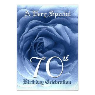 70th Birthday Soft Blue Rose Metallic Paper 5x7 Paper Invitation Card