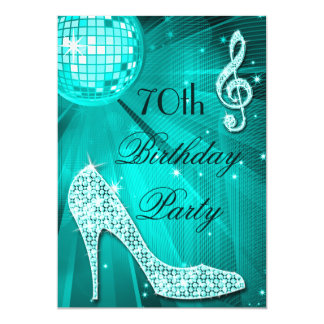 70th Birthday Sparkle Heels and Teal Disco Ball Card