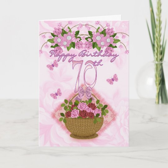 70th Birthday Special Lady Roses And Flowers 70 Card Zazzle
