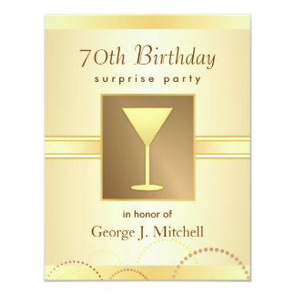 70th Birthday Surprise Party Invitations - Gold