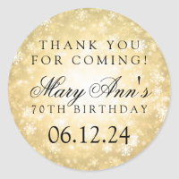 70th Birthday Thank You Gold Winter Wonderland Classic Round Sticker