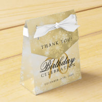 70th Birthday Thank You Gold Winter Wonderland Favor Box