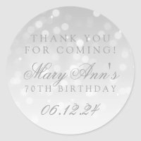 70th Birthday Thank You Silver Bokeh Sparkle Light Classic Round Sticker
