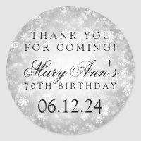 70th Birthday Thank You Silver Winter Wonderland Classic Round Sticker