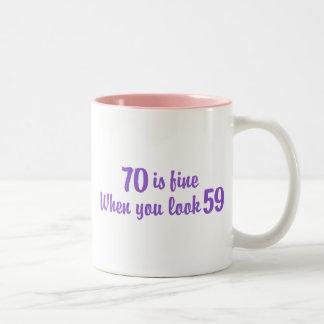 70th Birthday Two-Tone Coffee Mug