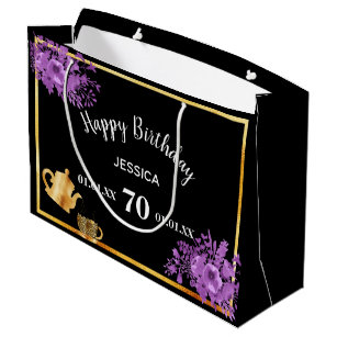 008eced17 70th birthday violet flowers black tea party large gift bag